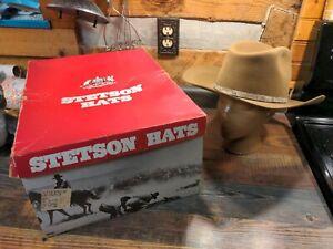 Vintage Stetson Stampede Acorn 4X Beaver snake Hatband Cowboy Hat Size 6 7/8 NOS