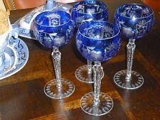 Set of Cobalt Blue cased cut to clear Hungarian crystal wine goblets NWOT