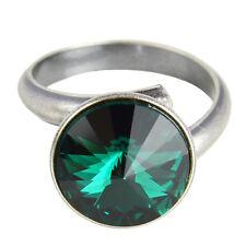 Grevenkämper Ring Silber Swarovski Kristall Rivoli Rund Statement Emerald grün
