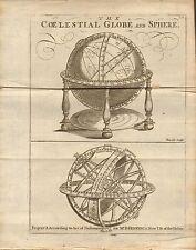 1804 antique map-Celestial Globe et sphère