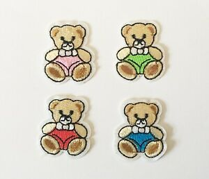 Two Small Teddy Bear in Blue Pink, Red Green Iron on Motif Patch Child or Adult