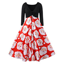 PLUS SIZE 5XL Women Christmas Santa Clus 50'S ROCKABILLY Swing Dress Xmas Party