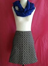 Mexx Womens Size 14 Skirt Black & White Patterned 2 Front Pockets 100% Cotton