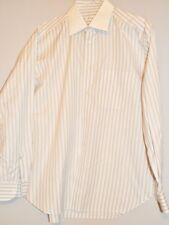 BRIONI Tan/White/Blue Dress Shirt 16 33/34 (32530 jla)