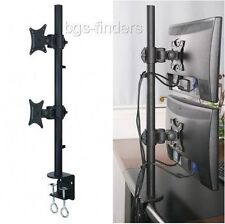 Dual Monitor Desk Mount Stand Vertical Rack LCD Screens Clamp Double up to 27""