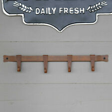 Farmhouse Coat & Hat Hanger Rustic Bronze Primitive Iron Multi Hook wall Rack