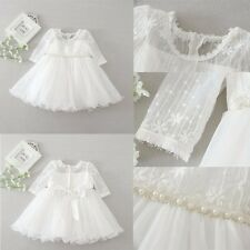 White Beaded Christening Baptism Lace Dress Embroidery Gown Wedding Skirt