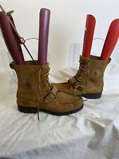 Ralph Lauren Ranger Mens Buckle & Lace Up Tan Leather Boots Uk 10.5 Ref Ap01