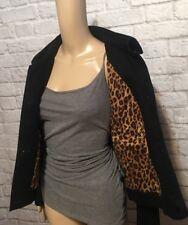 Lauren Ralph Lauren Black Jean Jacket Corduroy Collar Leopard Lining Women's M