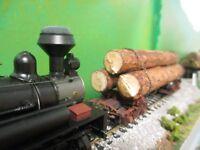 HO Shay Logging Locomotive Alabama-made Pine Log Load for Kadee Log Cars Sawmill