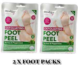 2 x Derma V10 Exfoliating Foot Peel Sock Mask Baby Soft Feet Removes Dead Skin