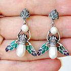#E639 Boucles d'oreilles Argent 925 Perles Emeraudes & Email Plique à Jour