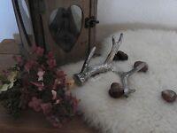 Geweih Dekoration Herbst Advent Weihnachten Silber Hirsch Waldtiere Tischdeko