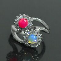 White Pink Natural Ethiopian Fire Opal Gemstone 925 Sterling Silver Ring