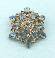 Vintage Blue Rhinestone Glass Gold tone Star Brooch - Mid Century design
