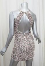 PARKER Womens White Blush Sequin Halter Sleeveless Back Cutout Dress S NEW NWT
