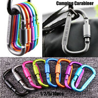 1Pc~10pcs Aluminum Alloy D Carabiner Spring Snap Clip Hooks Keychain Outdoor