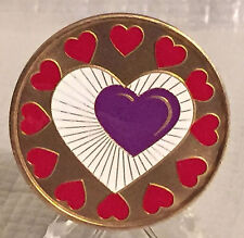 Heart Recovery Medallion Chip Coin AA  Color Red Purple White One Day At A Time