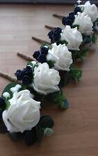 Wedding 6 x ivory rose buttonholes gypsophilia navy rose bud, rope bound stem
