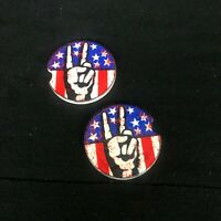 Peace Sign American flag Sandstone car coaster set of two GROOVY BABY JEEP LIFE