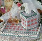 FANCY HEARTS VANITY SET TRAY & TISSUE COVER PLASTIC CANVAS PATTERN INSTRUCTIONS