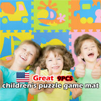 9pcs Baby Play Mats Kids EVA Foam Floor Puzzle Crawling Play Game Vehicle Mat