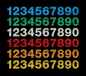 Reflective Mailbox Numbers (Helvetica Font)