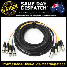 10-Metre 4-Way XLR Multicore Male-Female M-F Microphone Mic Cable Lead Cord 10M