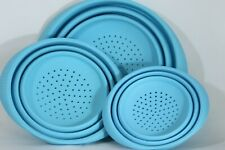 Set of 3 Blue Silicone Collapsible Colander Strainer Heat Safe