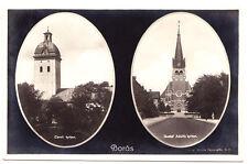 Caroli Kyrkan & Gustaf Adolfs Kyrkan, Boras Sweden RPPC 1932