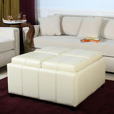 4-Tray-Top Ivory Leather Storage Ottoman Coffee Table