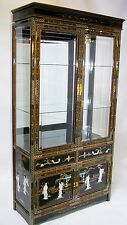 "Oriental furniture curio cabinet 40"" Chinese China Black lacquer cabinet"