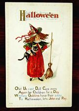Red Witch WITCHES GOBLINS HAVE THEIR SWAY Fantasy HALLOWEEN Postcard Nash H-14