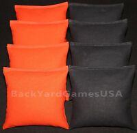 CORNHOLE BEAN BAGS Orange & Black 8 ACA Regulation Corn Hole Game Bags Harley CS