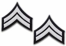 US ARMY 'CORPORAL' Silver Rank Stripes PAIR of Iron-On Patches, Iron-On - NEW