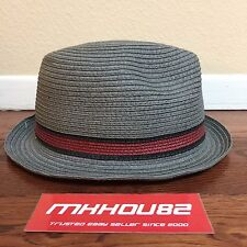 New Stussy Paper Straw Striped Fedora Hat Natural Gray Grey Size Small / Medium