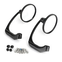L-Bar Round Rear View Mirror Cafe Racer Pair 8mm 10mm Motorcycle Universal BK AU