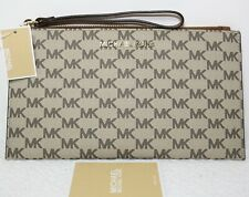 NWT $98 MICHAEL KORS Jet Set Signature MK Large Zip Clutch Wristlet Wallet Bag