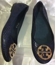 Tory Burch REVA Dark Navy Animal Print Patent Leather Ballet Shoes Women EUR 39