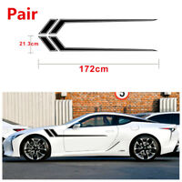 Universal Pair Black Car Racing Stripe Graphic Vinyl Decal Stickers 172x21.3cm