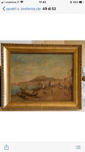 Marina Con Veduta Di Palermo - Dipinto Con Cornice 55x40