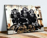 3 WISE MONKEYS BANKSY  CANVAS WALL GRAFFITI ART PRINT ARTWORK FRAMED POSTER