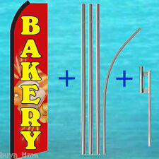 BAKERY Red FLUTTER FEATHER FLAG + 15' TALL POLE + MOUNT KIT Swooper Bow Banner