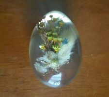 Vintage Collectible Art Lucite Flowers in Egg Scene Paperweight