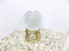 "VINTAGE CLEAR CRYSTAL SPHERE BALL 4"" WITH VINTAGE ROPE BRASS STAND PAPER WEIGHT"