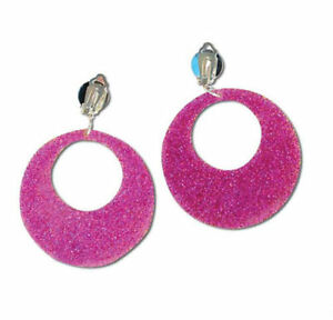 60's Clip On Fancy Dress Hoop Earrings Pink Glitter Retro Disco 70s Hippie Mod