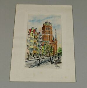 A7/Coloured Drawing. Coloured Pencil,Coal or Sim. Signed - Street+Houses+Church