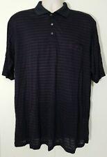 Yves Saint Laurent YSL 100% Silk Dark Navy Striped Polo Shirt XXL EUC LKNW