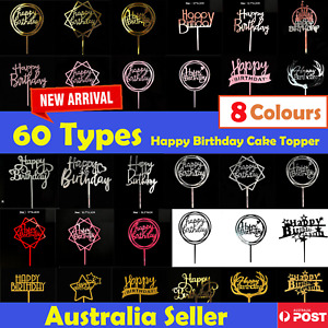 60 Types Happy Birthday Acrylic Cake Topper Cake Decoration Golden Silver Party