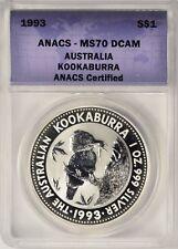 1993 $1 Australia Kookaburra 1 oz Silver ANACS MS70 DCAM